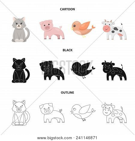 An Unrealistic Cartoon, Black, Outline Animal Icons In Set Collection For Design. Toy Animals Vector