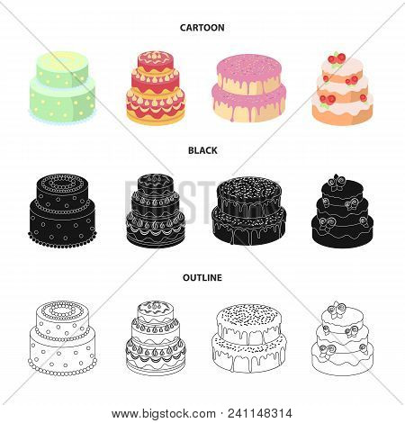 Sweetness, Dessert, Cream, Treacle .cakes Country Set Collection Icons In Cartoon, Black, Outline St