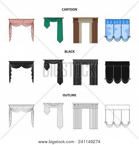 Different Types Of Window Curtains.curtains Set Collection Icons In Cartoon, Black, Outline Style Ve
