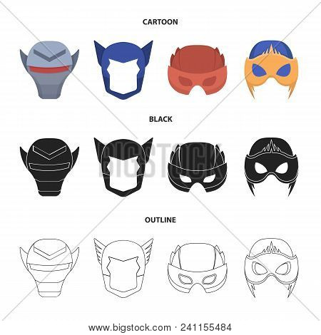 Helmet, Mask On The Head.mask Super Hero Set Collection Icons In Cartoon, Black, Outline Style Vecto