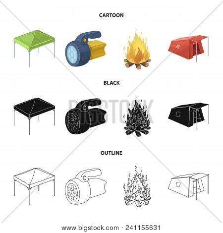 Awning, Fire And Other Tourist Equipment.tent Set Collection Icons In Cartoon, Black, Outline Style