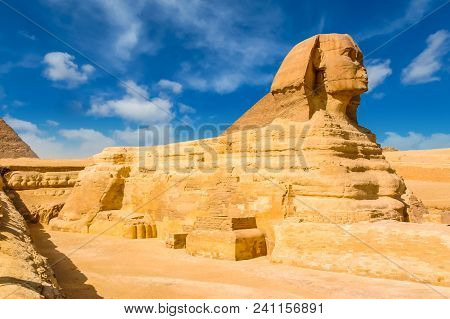 Egyptian Sphinx. Cairo. Giza. Egypt. Travel Background. Architectural Monument. The Tombs Of The Pha