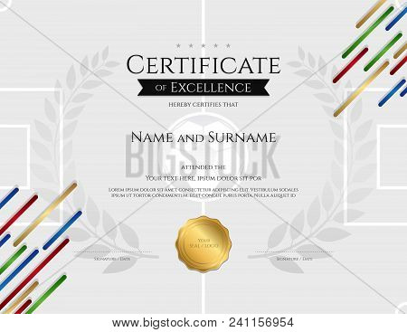 Certificate Template In Football Sport Theme With Sport Color Stripe Theme Background, Diploma Desig