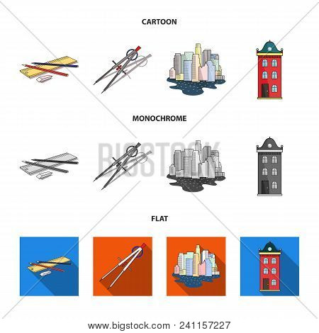 Drawing Accessories, Metropolis, House Model. Architecture Set Collection Icons In Cartoon, Flat, Mo