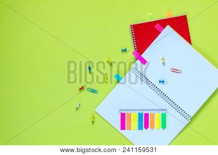 Beautiful Office Stationery Flat Lay With Ruled Red And Yellow Notebooks, Stationery And Office Supp