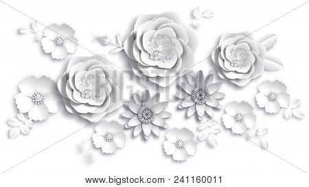 Vector Paper Art, Summer Flowers On A White Background With Leaves Cut Of Paper. Stock Image Illustr