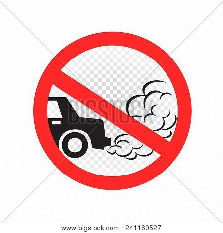 No Idling Turn Engine Off Sign Symbol Icon On White Transparent Background. Forbidden Exhaust Round