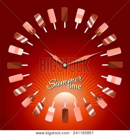Concept Illustration Of Summer Time. The Hands Of The Clock On The Background Of Sunset With Ice Cre