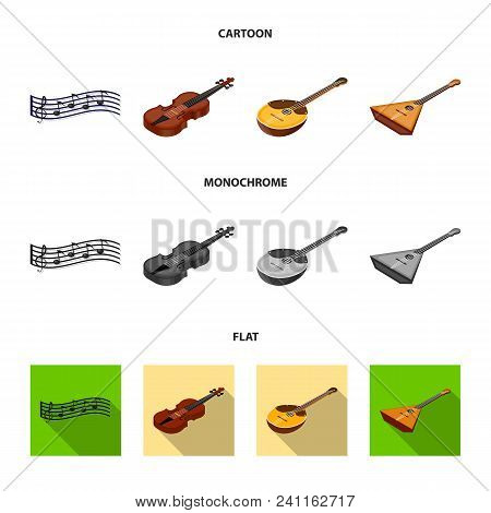 Musical Instrument Cartoon, Flat, Monochrome Icons In Set Collection For Design. String And Wind Ins
