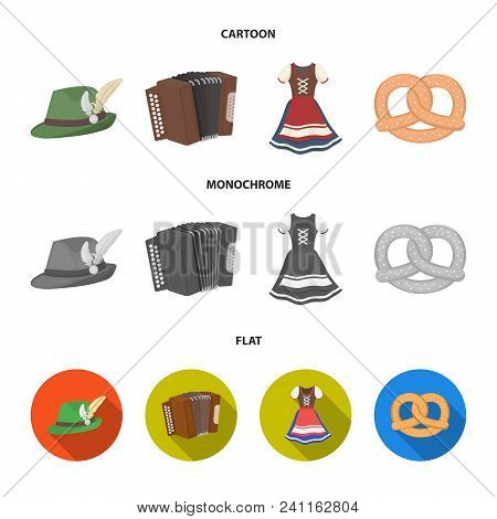 Tyrolean Hat, Accordion, Dress, Pretzel. Oktoberfestset Collection Icons In Cartoon, Flat, Monochrom