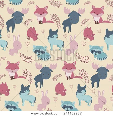 Cute Woodland Wild Animals Seamless Pattern Fox, Squirrel, Raccoon, Rabbit, Wolf, Elk. Cartoon Vecto