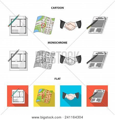 House Plan, Documents For Signing, Handshake, Terrain Plan. Realtor Set Collection Icons In Cartoon,