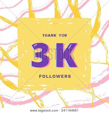 3k Followers Thank You Card. Celebration 3000 Subscribers  Banner. Template For Social Media. Vector