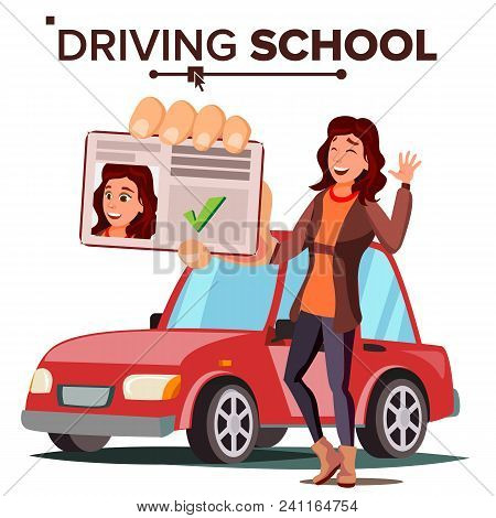 Woman In Driving School Vector. Training Car. Successful Pass Exam. Driving License. Flat Illustrati
