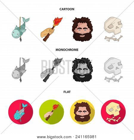 Primitive, Fish, Spear, Torch .stone Age Set Collection Icons In Cartoon, Flat, Monochrome Style Vec