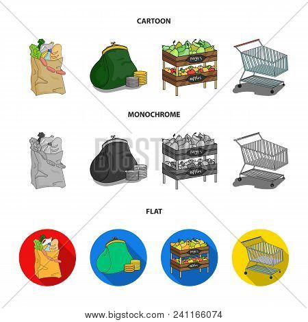 Sausages, Fruit, Cart .supermarket Set Collection Icons In Cartoon, Flat, Monochrome Style Vector Sy