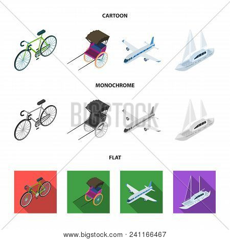 Bicycle, Rickshaw, Plane, Yacht.transport Set Collection Icons In Cartoon, Flat, Monochrome Style Ve