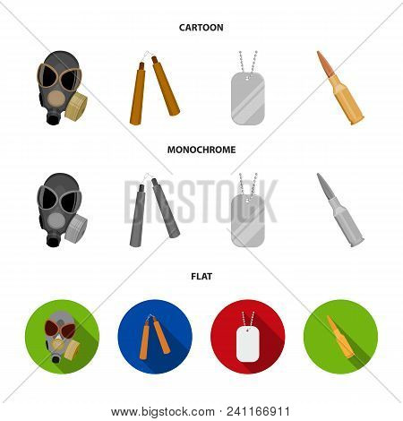 Gas Mask, Nunchak, Ammunition, Soldier Token. Weapons Set Collection Icons In Cartoon, Flat, Monochr