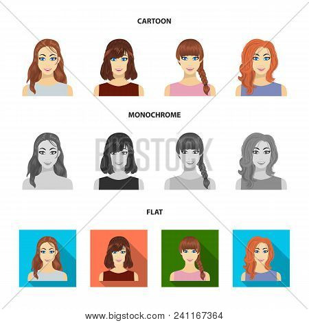 Types Of Female Hairstyles Cartoon, Flat, Monochrome Icons In Set Collection For Design. Appearance