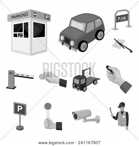 Parking For Cars Monochrome Icons In Set Collection For Design. Equipment And Service Vector Symbol