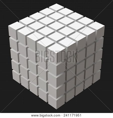 Big Cube With Cubic Cuts. Suitable For Banner, Ad, Technology And Abstract Themes