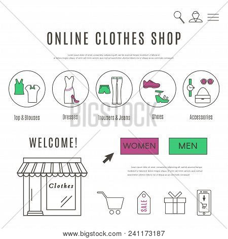 Online Clothes And Accessories Shop Web Design Template. Collection Of Line Icons Of Online Clothes