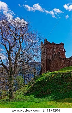 Grand Tower Of Urquhart Castle At Loch Ness Lake In Scotland. Loch Ness Is A City In The Highlands I