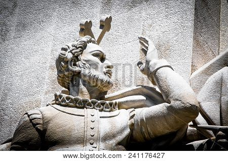 Lisbon, Portugal, May 5, 2018: Statue Of Luis Vaz De Camoes, Detail Of The Monument To The Discoveri