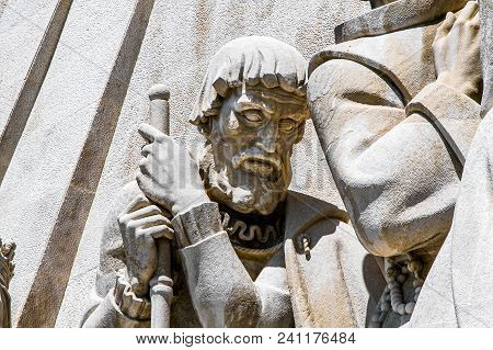 Lisbon, Portugal, May 5, 2018: Statue Of Fernao Mendes Pinto, Detail Of The Monument To The Discover