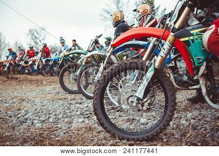 Novokuzneck, Russia - 21.04.2018: Close-up Of Biker Sitting On Motorcycle In Starting Point Before T