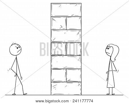 Cartoon Stick Man Drawing Conceptual Illustration Of Man And Woman Divided By High Wall Obstacle. Co