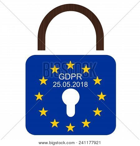 Eu´s New General Data Protection Regulation. European Flag With Text Gdpr And 25.05.2018