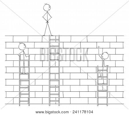 Cartoon Stick Man Drawing Conceptual Illustration Of Businessman Beating Or Defeating Competitors By