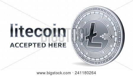 Litecoin. Accepted Sign Emblem. Crypto Currency. Silver Coin With Litecoin Symbol Isolated On White