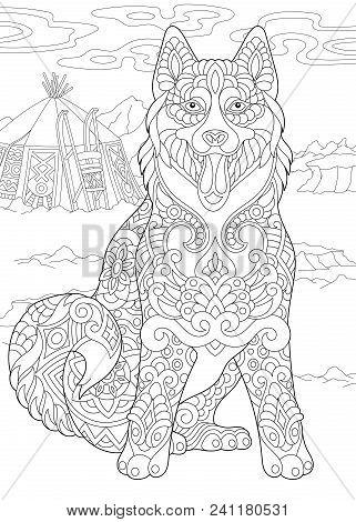 Alaskan Malamute Or Siberian Husky. Eskimo Dog. Coloring Page. Adult Coloring Book Idea. Antistress