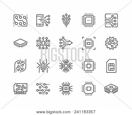 Simple Set Of Abstract Electronics Related Vector Line Icons. Contains Such Icons As Spider Bot, Chi