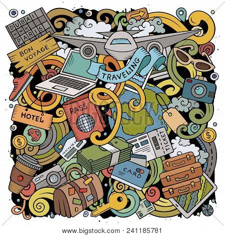 Cartoon Vector Doodles Travel Illustration. Colorful, Detailed, With Lots Of Objects Background. All
