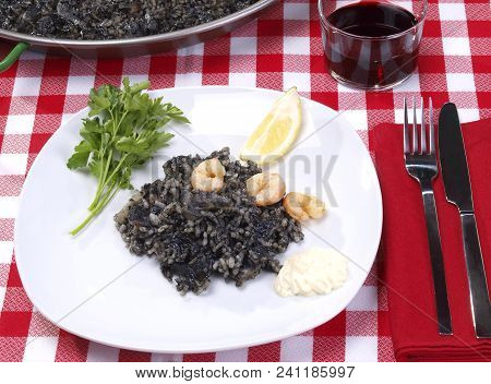 Arroz Negro - Black Rice Traditional Valencian Dish.  The Paella Is The Most Worldwide Well-known Va