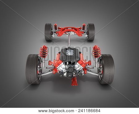 Suspension Of The Car With Wheel And Engine Undercarriage In Detail Isolated On Black Gradient Backg
