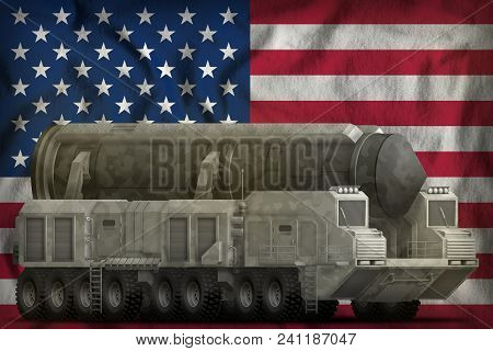 Intercontinental Ballistic Missile With Grey Camouflage On The Usa Flag Background. 3d Illustration