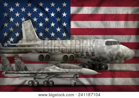 Air Forces With Grey Camouflage On The Usa Flag Background. Usa Air Forces Concept. 3d Illustration