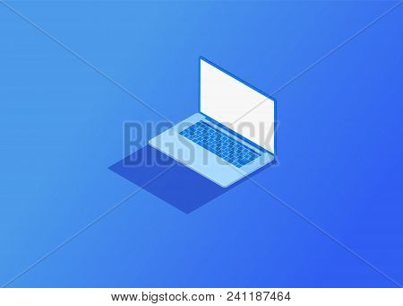 Isometric Flat Design. Vector Illustration Of Laptop. 3d Devices.