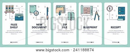 Vector set vertical vector photo free trial bigstock vector set of vertical banners with files shelf new document zip file blueprint malvernweather Gallery