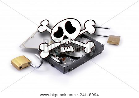 Death'head Above Hard Disk With Protection Broken