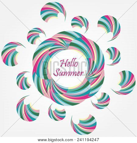 Abstract Circle Colorful Summer Background. Creative Floral Geometric Pattern. Vector Modern Design