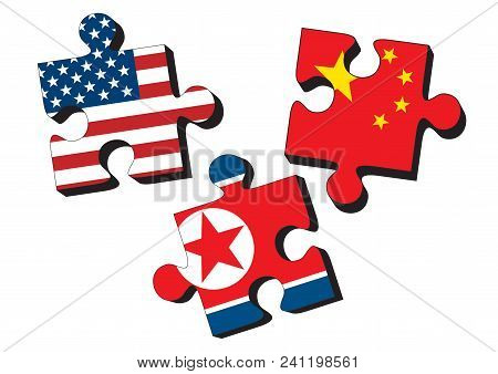 Usa, China And North Korea As Jig Saw Puzzle Pieces With Flags Of The United States Of America, Chin