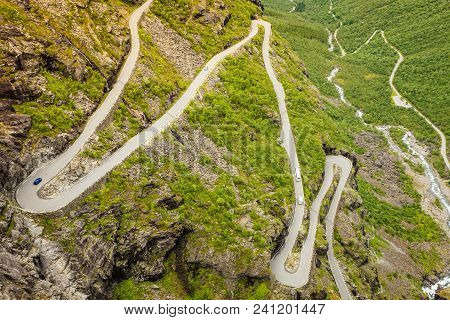 Trolls Path Trollstigen Or Trollstigveien Winding Scenic Mountain Road In Norway Europe
