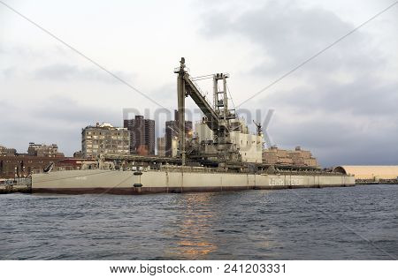 Brooklyn, New York - September 17: The Non Propelled Bulk Cement Barge Matilde While Docked In East