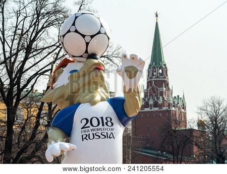 Moscow, Russia - April 16, 2018 The Official Mascot Of The 2018 Fifa World Cup And The Fifa Confeder