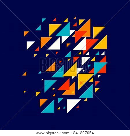 Abstract Geometric Background - Multicolor Triangles Mosaic Pattern